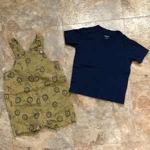 Carters Boys Tan Blue Lion Overall Shorts 24 month